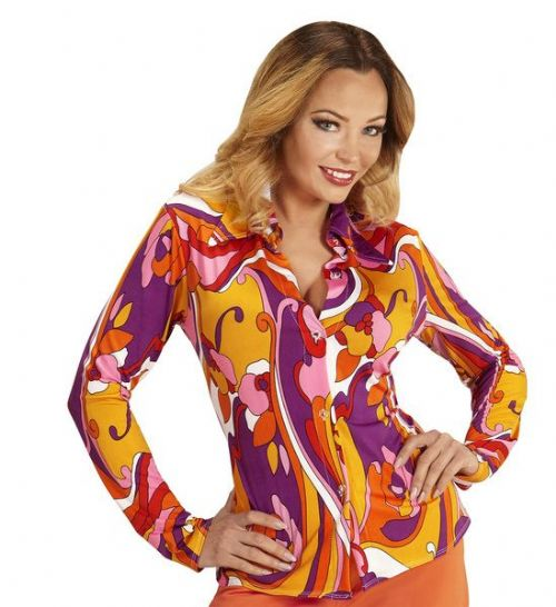 Ladies Groovy 70s Lady Shirt - Orchids Top 70s Fancy Dress